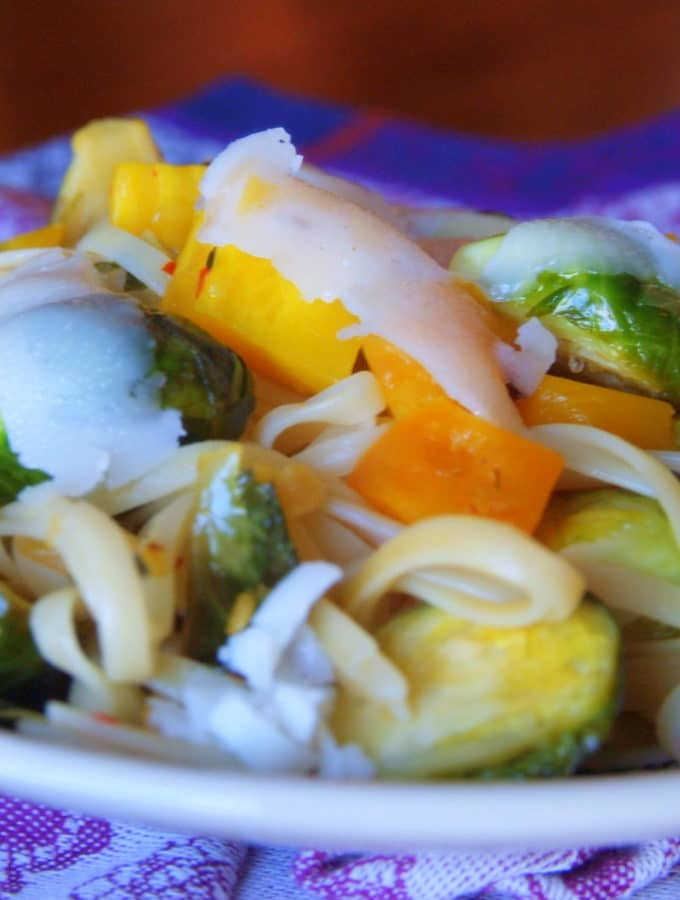 Linguine Agliolio with Golden Beets and Brussels Sprouts