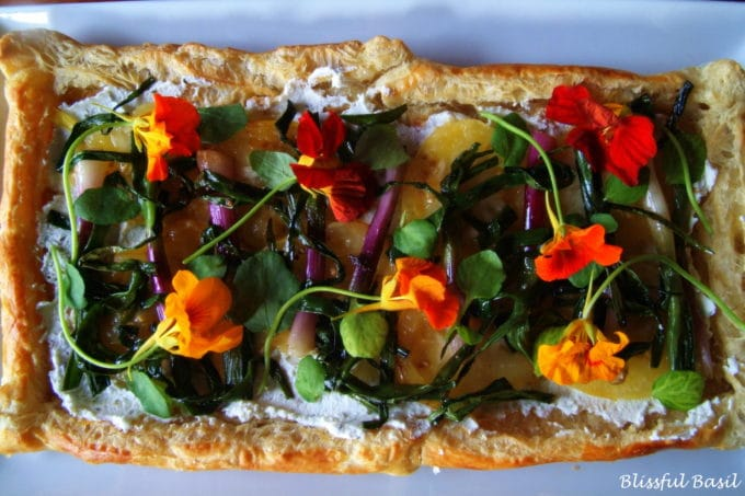 Purple Spring Onion and Golden Tomato Tart - Blissful Basil