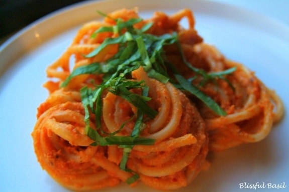 Creamy Vegan Tomato Basil Bucatini