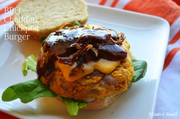 BBQ Cheddar Chickpea Burger