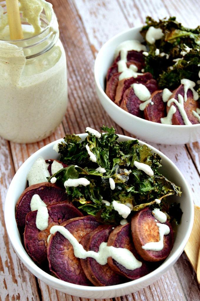 Purple Sweet Potato Power Bowl with Creamy Hemp Seed & Pepita Ranch Dressing