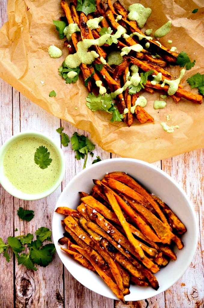 Sweet Potato Fries with Cilantro Hemp Seed Aioli