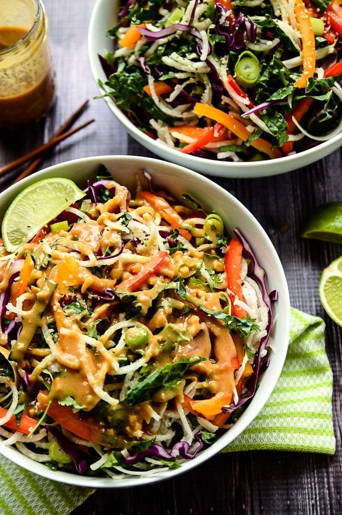 Jicama Noodle Salad with Creamy Tahini-Ginger Dressing