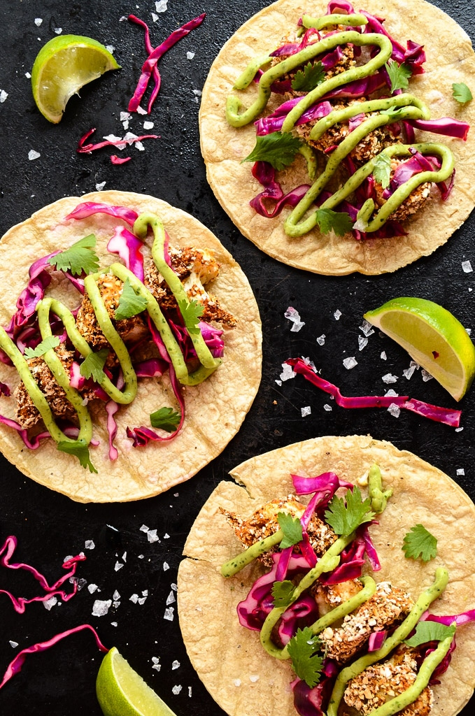 Crispy Cauliflower Tacos with Slaw and Avocado Cream