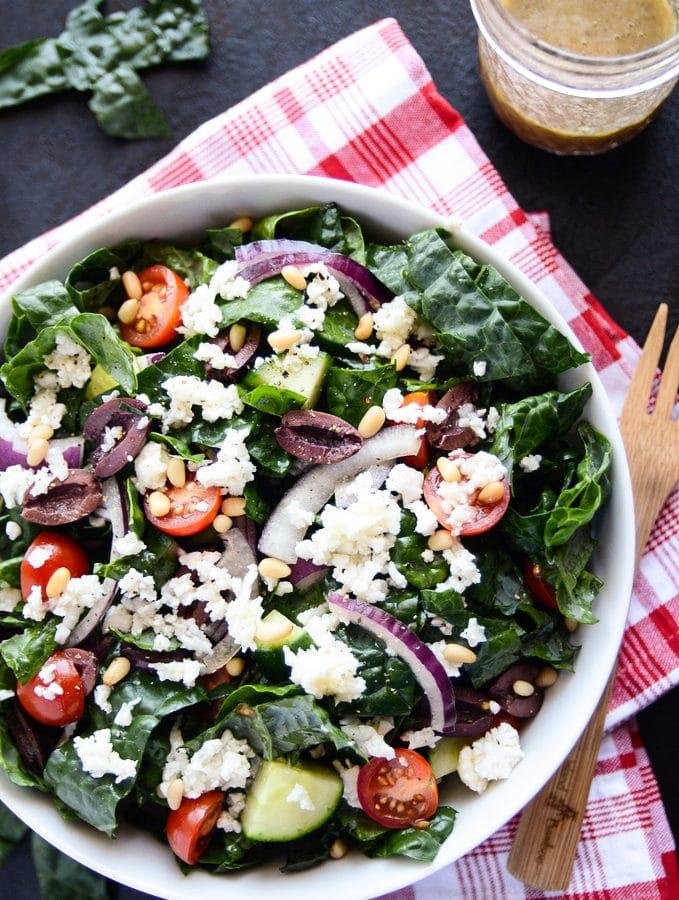 Detoxifying Greek Salad with Kale & Cauliflower Feta