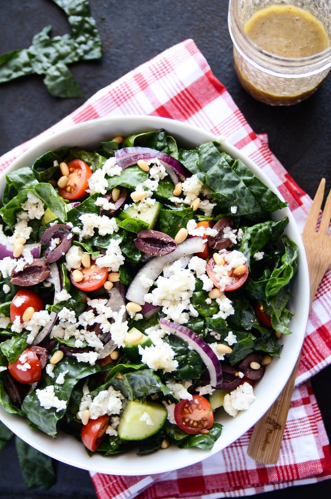 "Detoxifying Greek Salad with Kale & Cauliflower ""Feta"" - Blissf..."