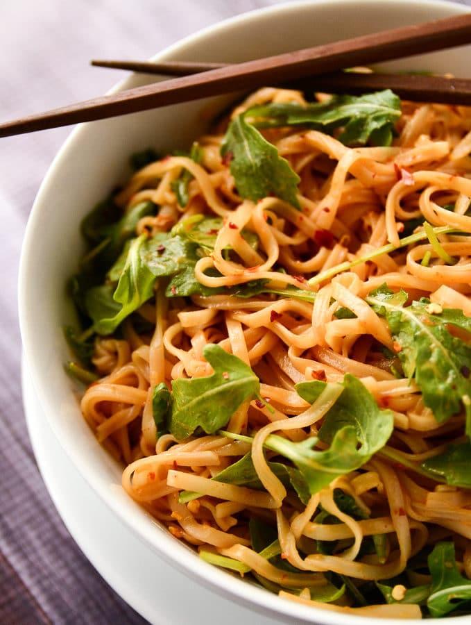 Simple Sesame + Spice Rice Noodles