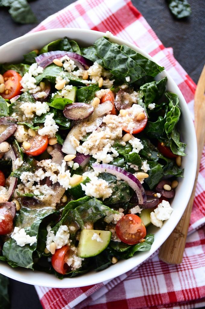 Vegan Greek Salad with Kale & Cauliflower Feta