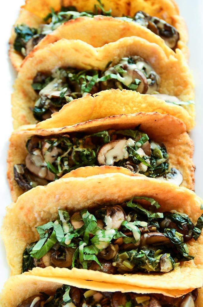 Vegan Breakfast Tacos with Warm Mushroom Filling