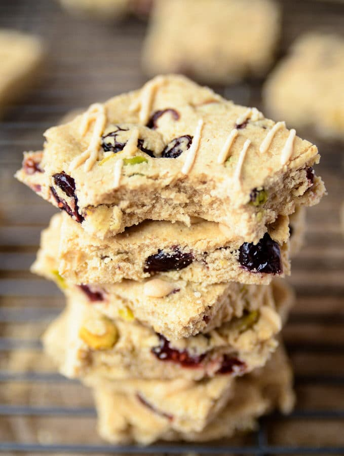 Cranberry & Pistachio Shortbread with Almond Icing