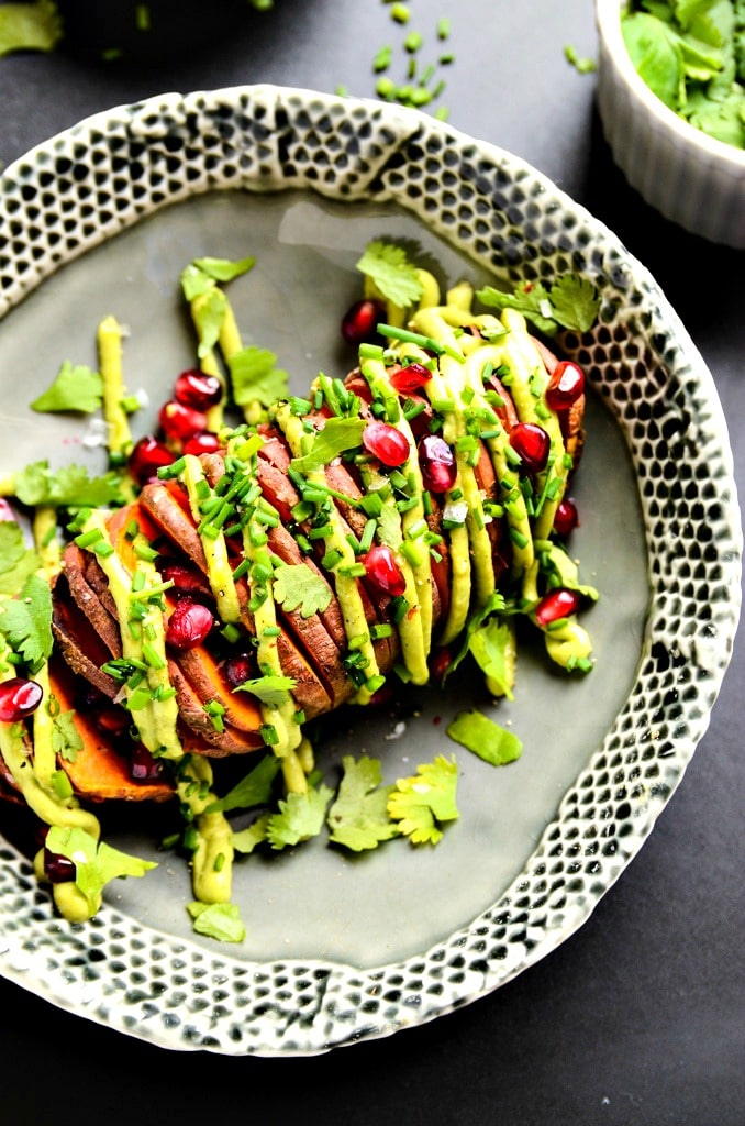 7-Ingredient Hasselback Sweet Potatoes with Avocado Aioli