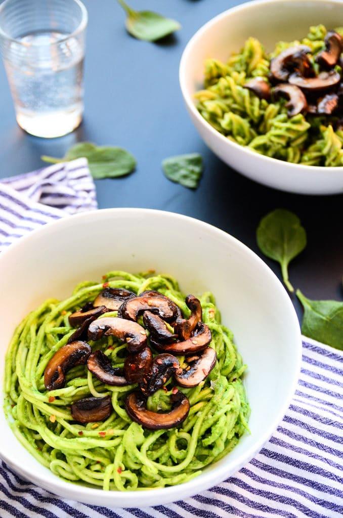 Lean Green Avocado-Spinach Pesto Pasta (vegan, gluten-free)