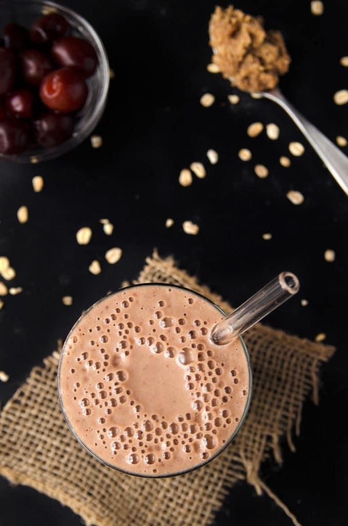 Cherry, Oat & Almond Butter Smoothie (vegan, gf)
