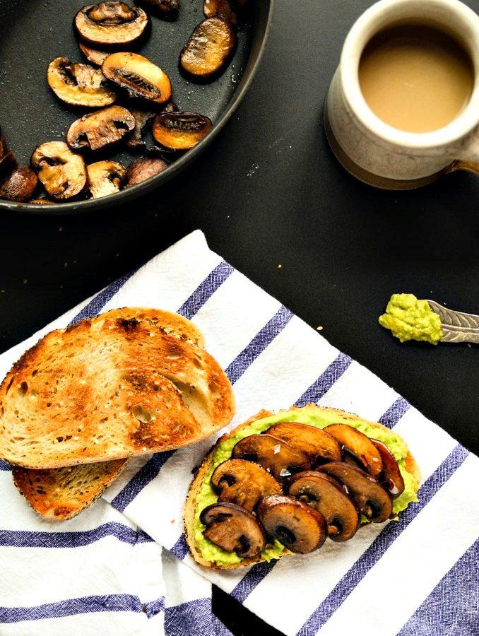 Smashed Avocado & Sautéed Mushroom Toast