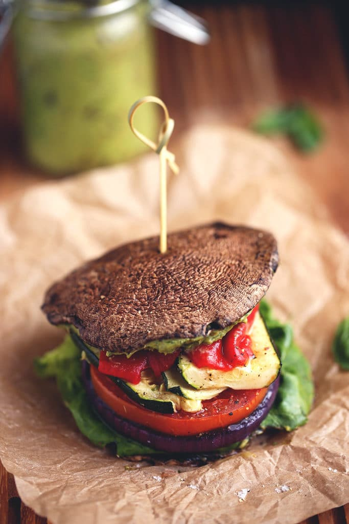 Roasted Vegetable Sandwich with Avocado-Basil Aioli