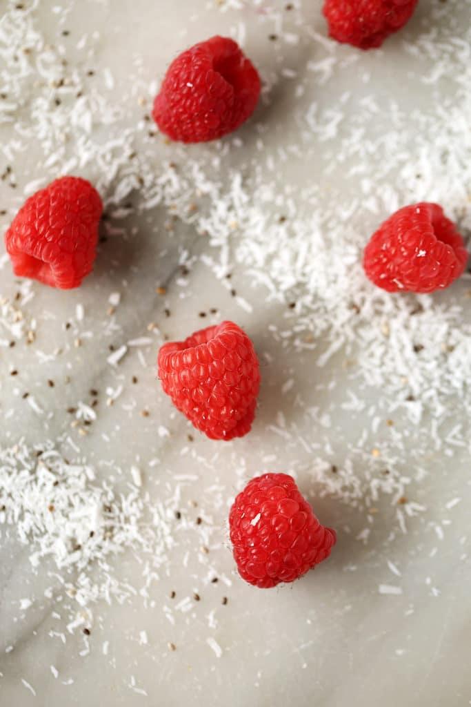 Rich & Creamy Vegan Raspberry, Coconut & Chia Shake
