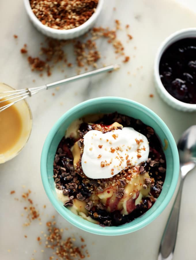 An Announcement + Celebratory Hot Tahini Sundae with Banana Ice Cream, Cherry Compote & Sunflower Crumble