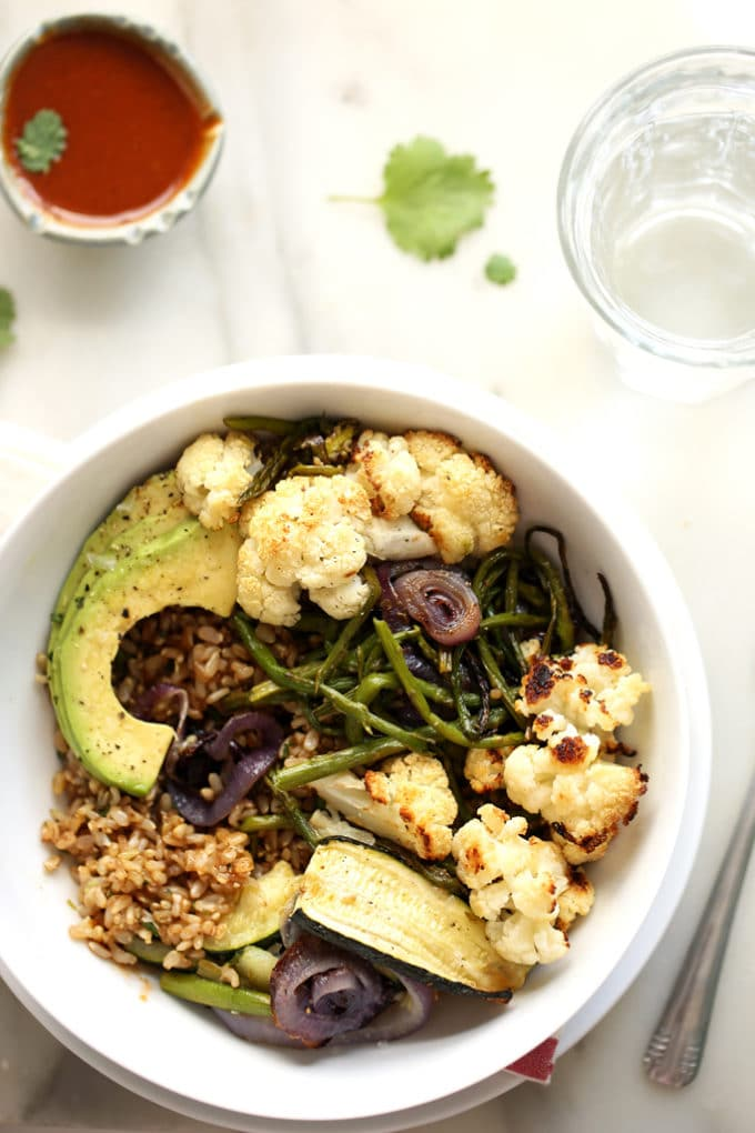 Roasted Vegetable Rainbow Bowl with Balsamic Brown Rice & Tangy BBQ Sauce | A simple and flavor-packed vegan meal!