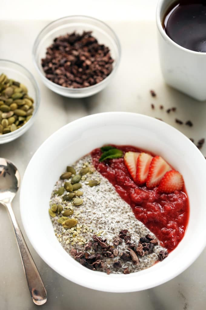 Strawberry-Rhubarb & Coconut Chia Pudding Breakfast Bowl | An energizing vegan and gluten-free breakfast!