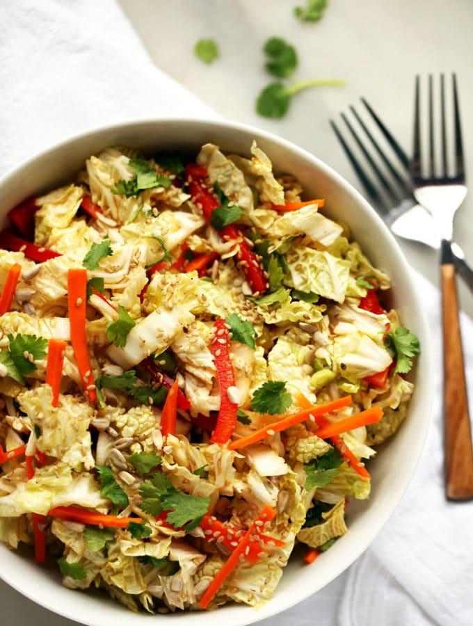 Napa Cabbage Salad with Sweet Tamari-Sesame Dressing