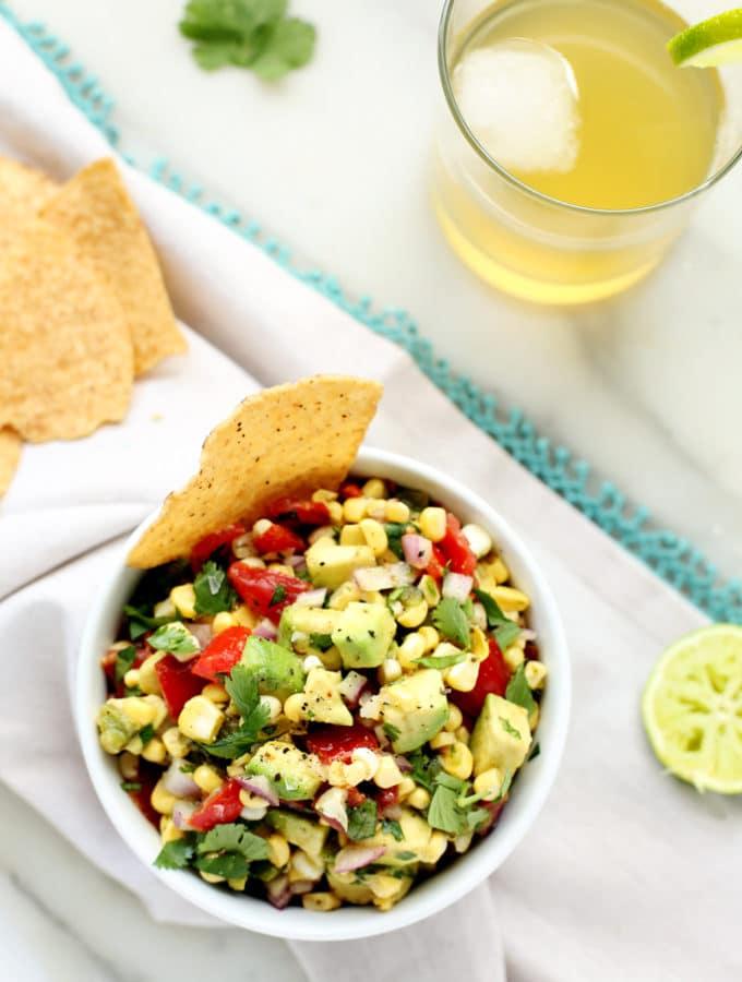 Sweet & Smoky Poblano, Corn, and Avocado Salsa
