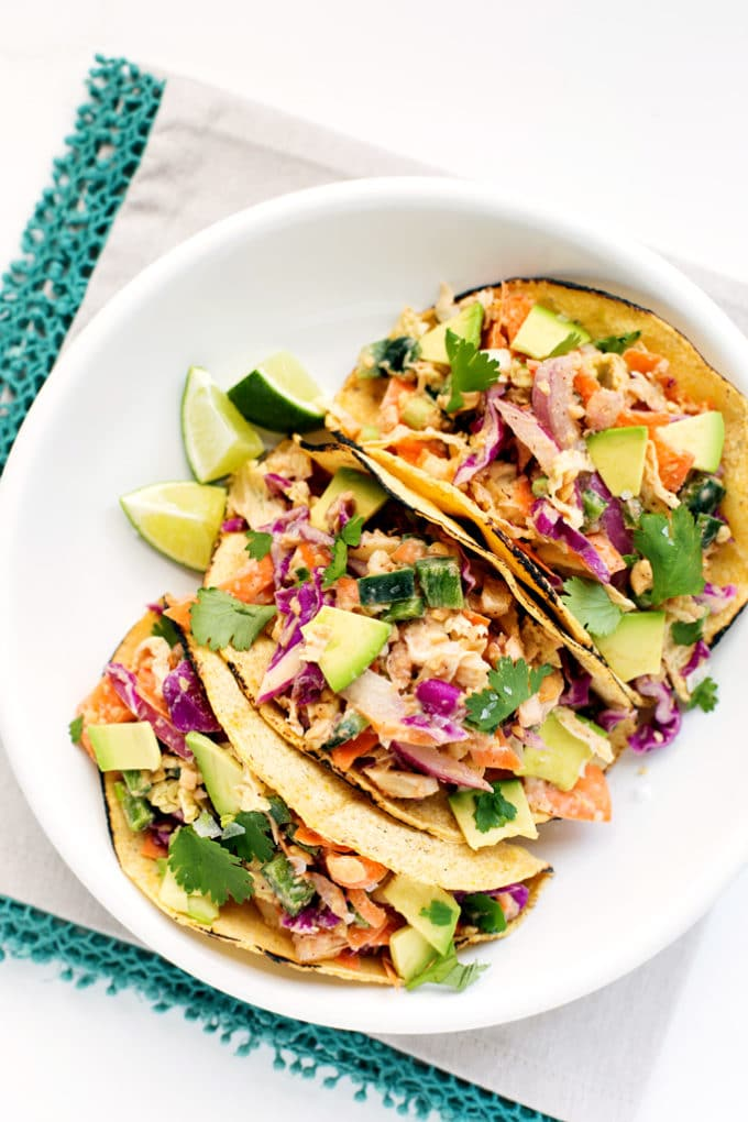 Crispy Chickpea Tacos | These vegan + gluten-free tacos are packed with protein and bright citrus flavor!