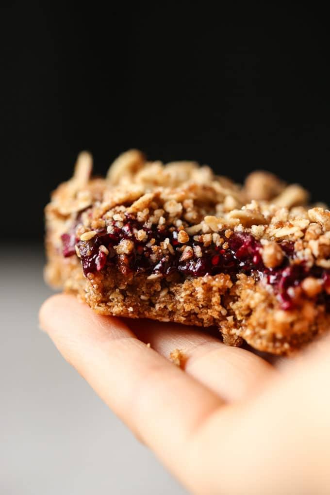 No-Bake Cherry Chia Crumble Bars | vegan, gluten-free, refined sugar free