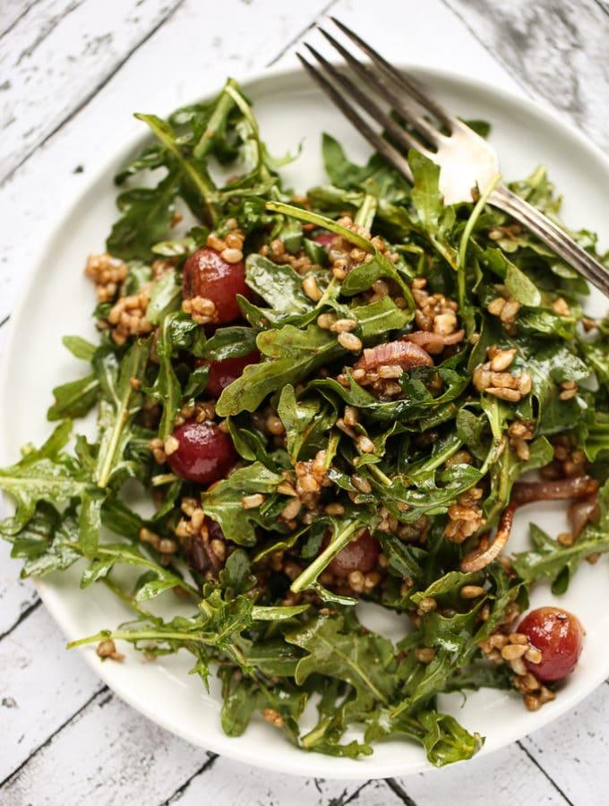 Arugula, Brown Rice & Roasted Grape Salad