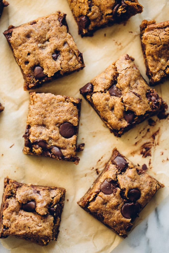Vegan Almond Butter Oatmeal Chocolate Chip Cookie Bars