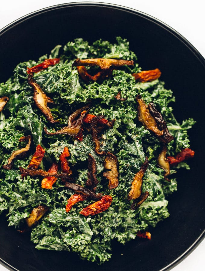 Marinated Kale Caesar Salad with Crispy Shiitake Bacon