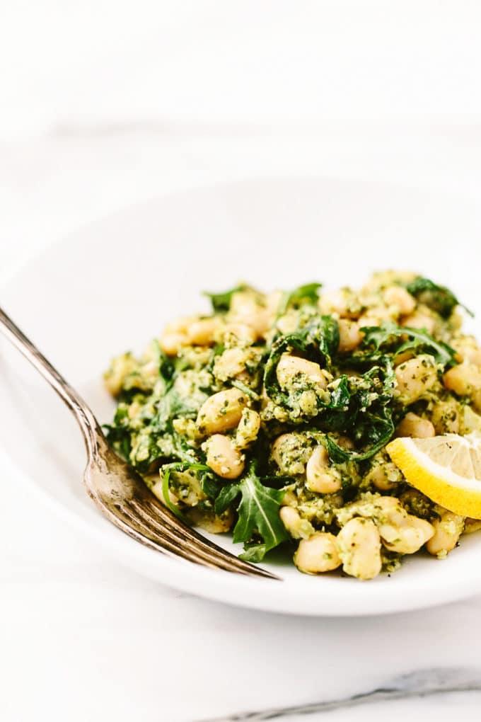 Warm Lemony-Garlic White Bean Salad with Hemp Seed Pesto   vegan, gluten-free