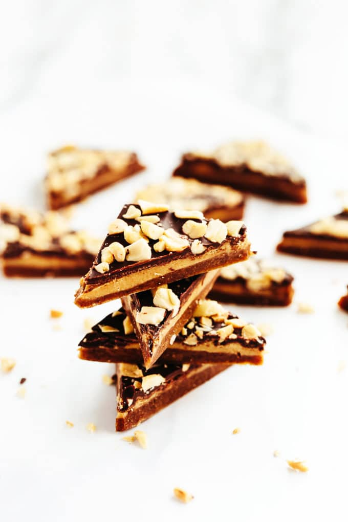 Chewy Caramel, Peanut Butter, and Chocolate Candy Bark | These vegan treats are reminiscent of everyone's favorite candy bar!