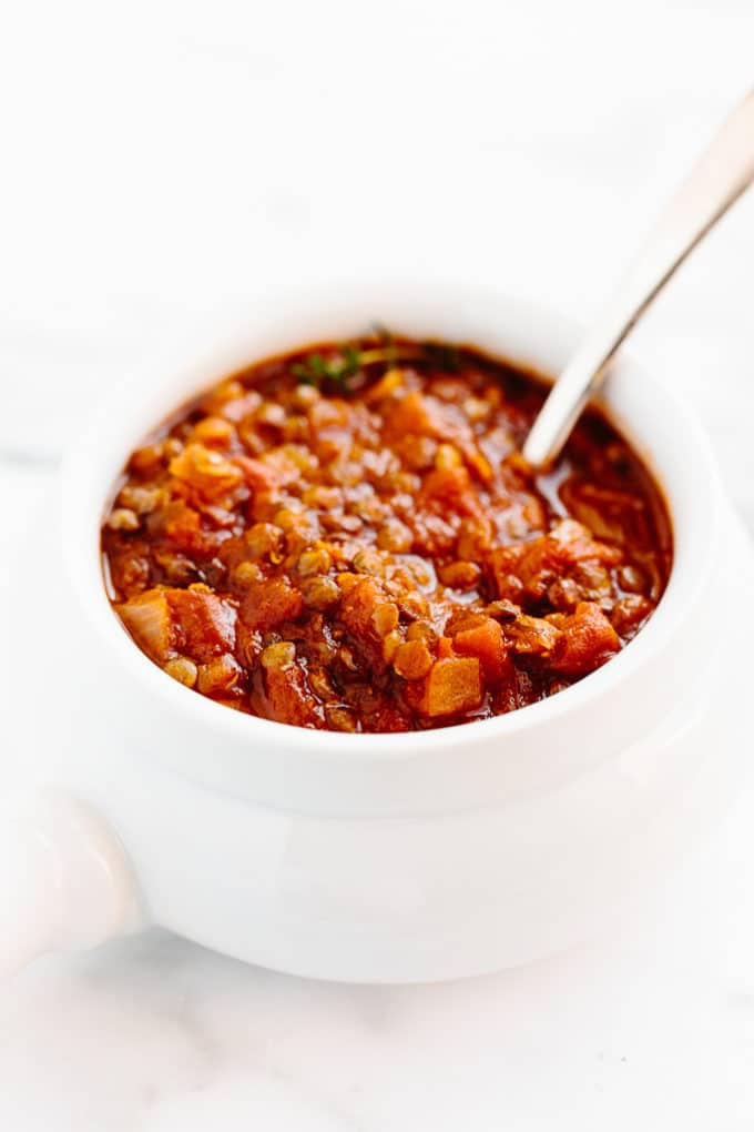 Warming Tomato and Lentil Stew | A simple protein-packed vegan stew that comes together in just 45 minutes!