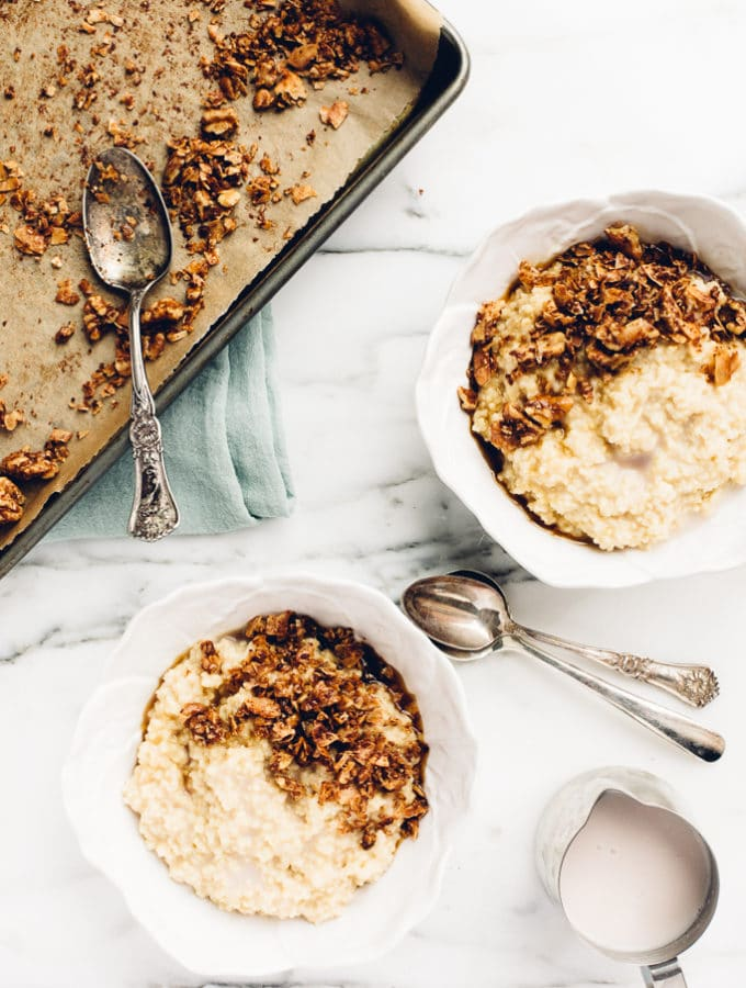 Maple Millet Porridge with Candied Coconut-Walnut Topping