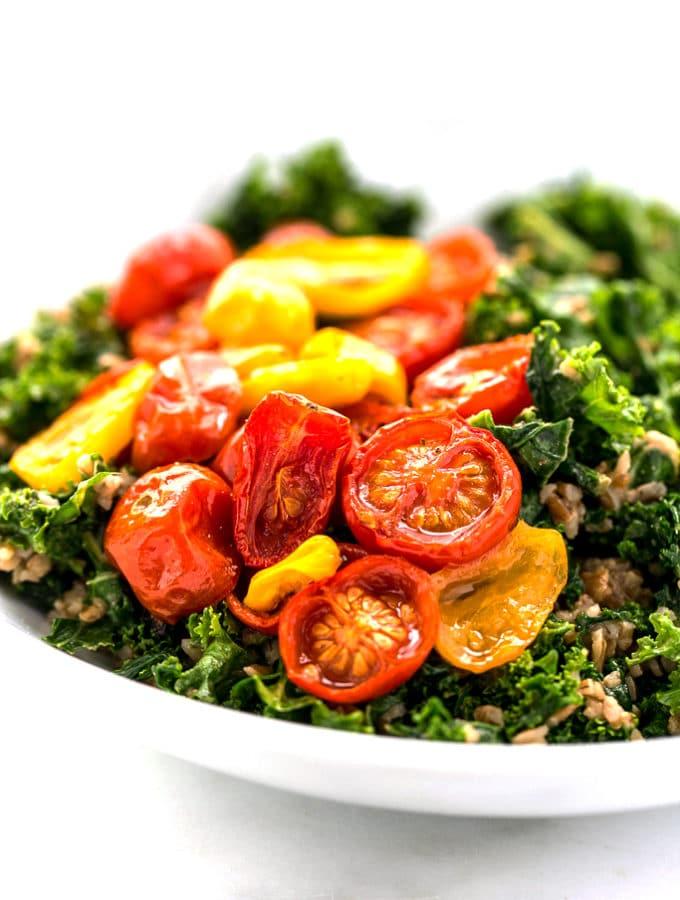 Balsamic Marinated Kale, Bulgar & Roasted Tomato Salad