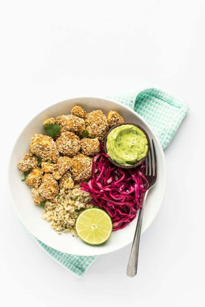 Crispy Cauliflower Power Bowls with Cilantro-Lime Rice