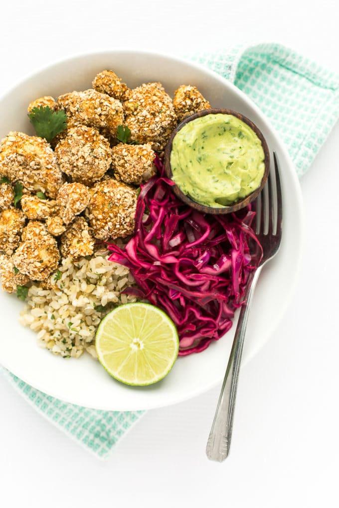 Crispy Cauliflower Power Bowls with Cilantro-Lime Brown Rice