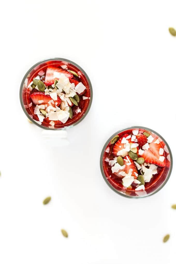 Coconut Yogurt Chia Seed Pudding Parfaits with Strawberry Jam | Vegan