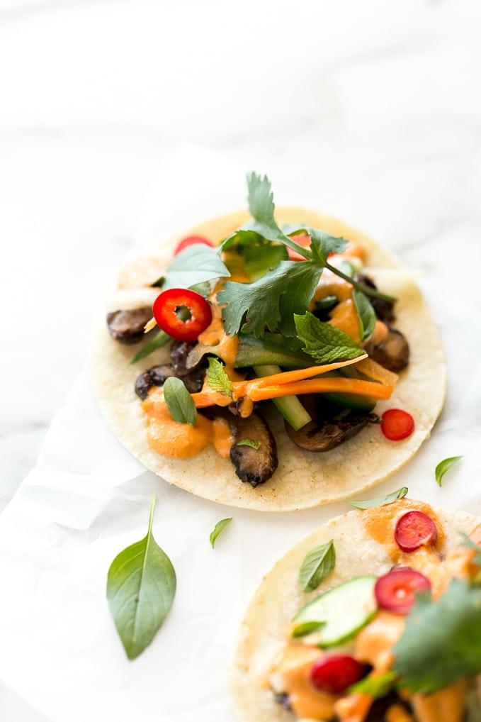Shiitake Bánh Mì Tacos with Smoky Sriracha Cashew Aioli   Vegan