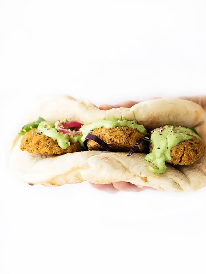 Herbed Cauliflower Patty Wraps with Green Tzatziki