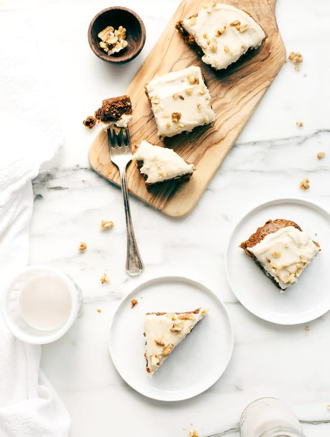 Vegan Carrot Cake Blondies with Cashew-Coconut Icing