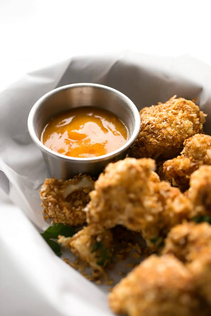 Crispy Coconut Cauliflower with Spicy Chili-Mango Sauce | Vegan, Gluten-Free