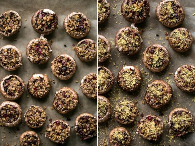 Vegan Walnut, Sage + Cranberry Stuffed Holiday Mushrooms