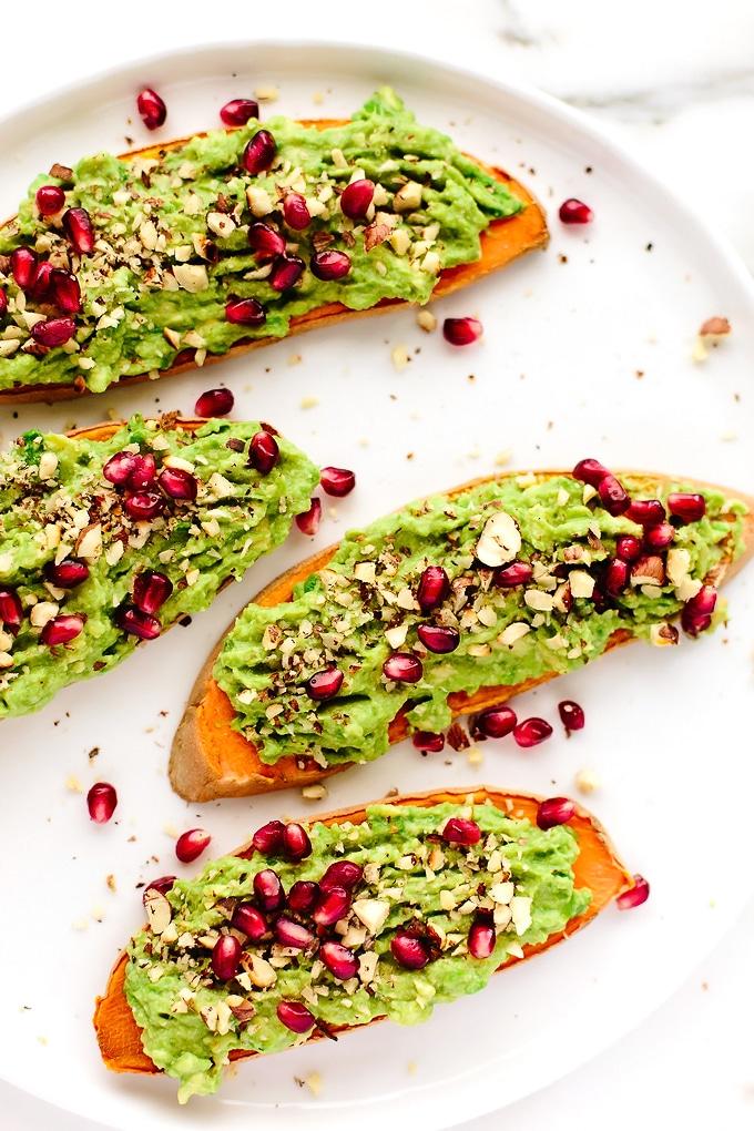 Festive Avocado-Pomegranate Sweet Potato Toast