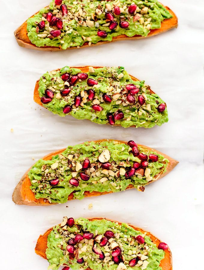 Festive Avocado-Pomegranate Sweet Potato Toast