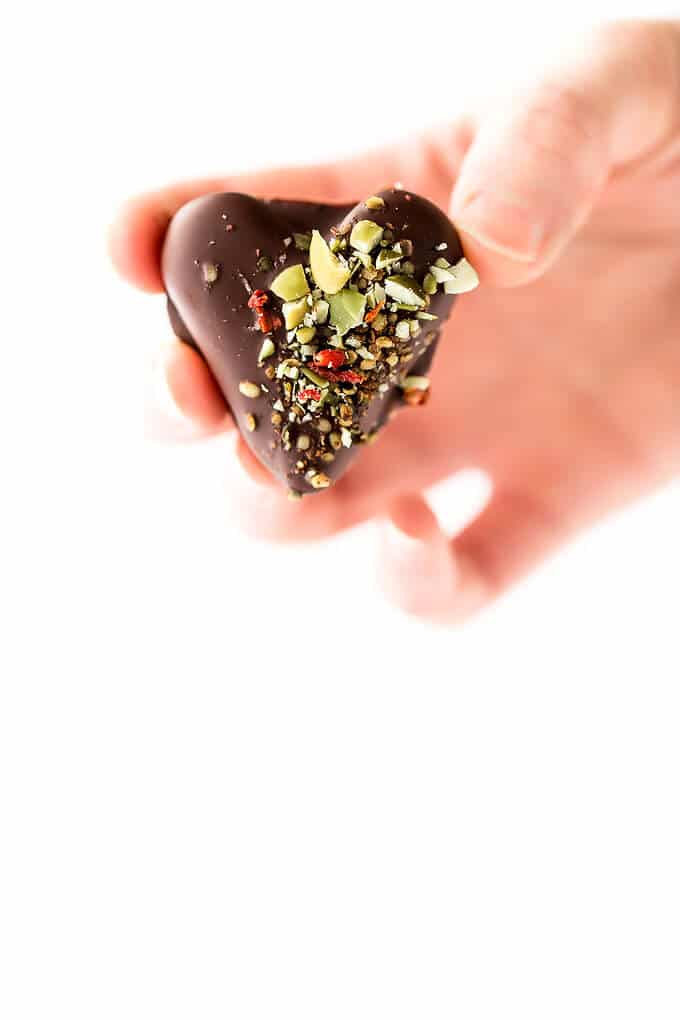 Love Wins Chocolate-Covered Date Caramel Hearts