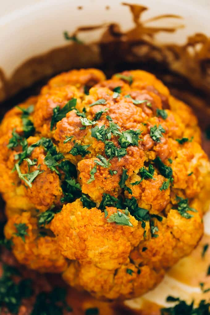 Tandoori Cauliflower Roast with Green Garlic-Cilantro Yogurt Sauce