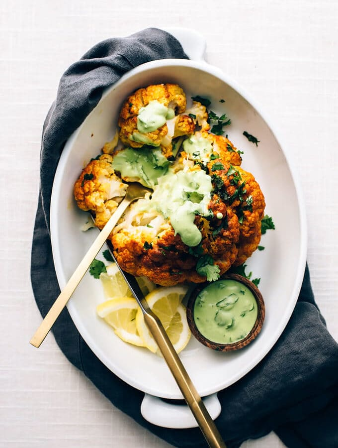 Tandoori Cauliflower Roast with Garlic-Cilantro Yogurt Sauce