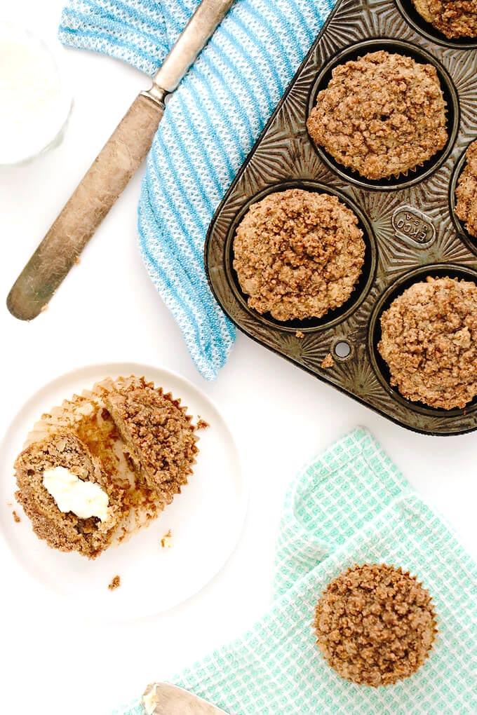 Vegan Gluten Free Banana Bread Streusel Muffins