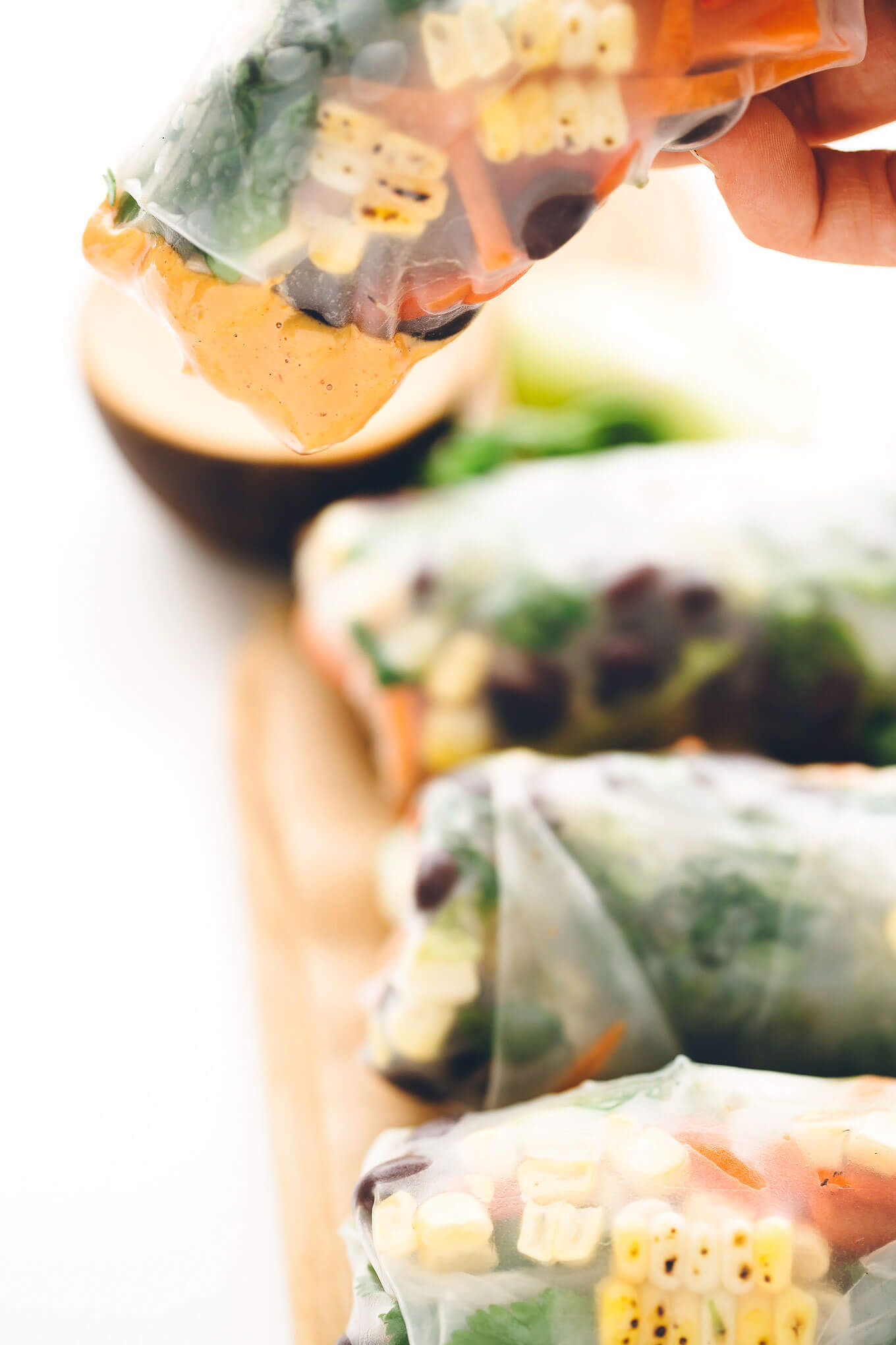 Southwest Vegan Spring Rolls with Smoky Chipotle Sauce